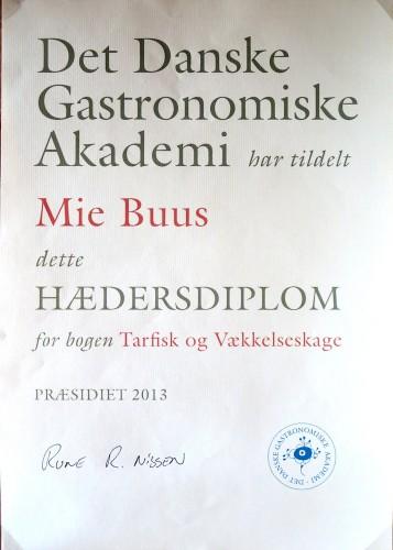Hædersdiplom fra det Danske Gastronomiske Akademi.
